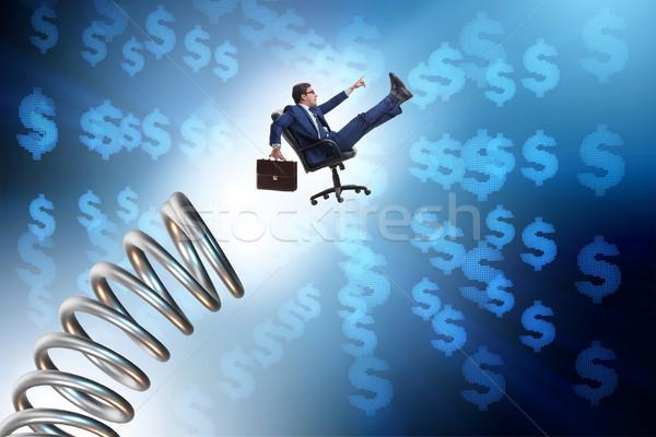 üzletember ugrik tavasz promóció ugrás vállalati Stock fotó © Elnur