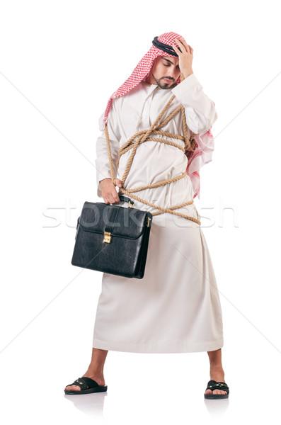 Arap işadamı yalıtılmış beyaz iş çalışmak Stok fotoğraf © Elnur