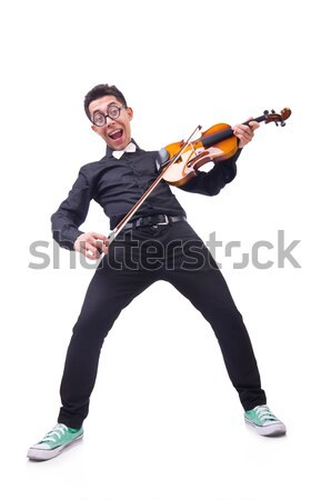 Funny violin player on white Stock photo © Elnur