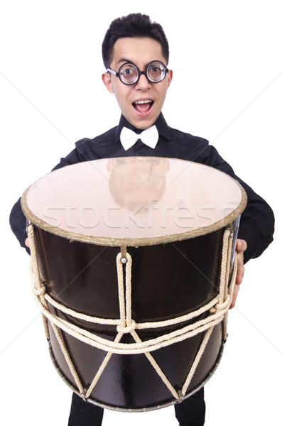 Stock photo: Funny man with drum on white