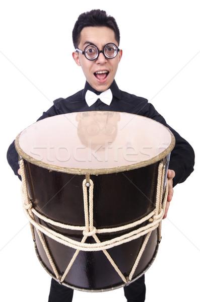 Funny man with drum on white Stock photo © Elnur
