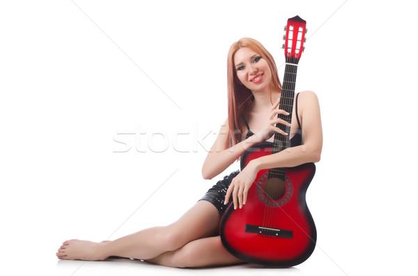 女性 ギター パフォーマー 孤立した 白 音楽 ストックフォト © Elnur