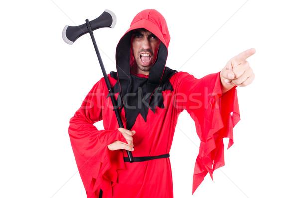 Rojo traje hacha blanco diversión máscara Foto stock © Elnur