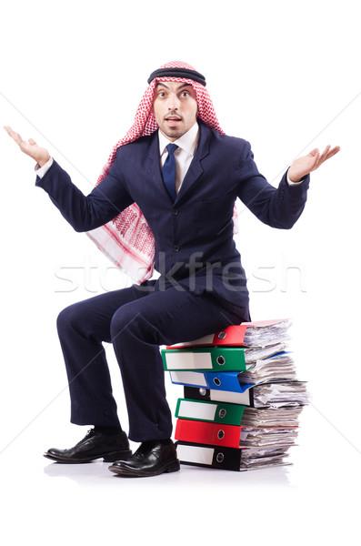 Stock fotó: Arab · üzletember · sok · mappák · fehér · háttér
