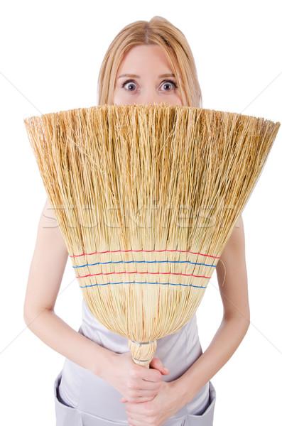 Mulher jovem vassoura branco mulher casa trabalhando Foto stock © Elnur