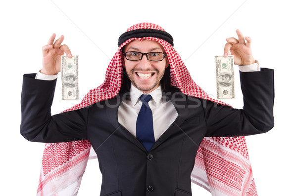 Arab businessman in specs with money isolated on white Stock photo © Elnur