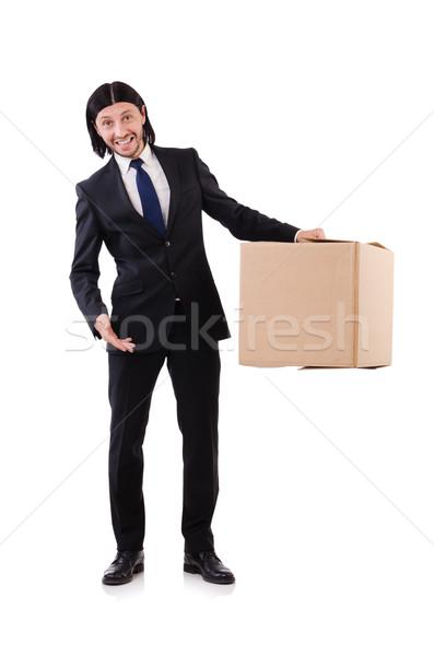 Vicces férfi dobozok fehér munka doboz Stock fotó © Elnur