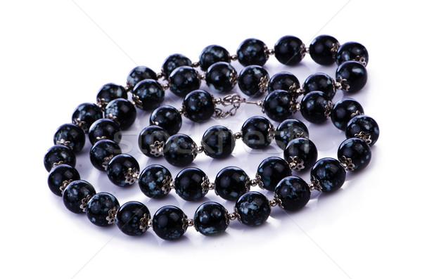 темно Pearl ожерелье изолированный белый аннотация Сток-фото © Elnur