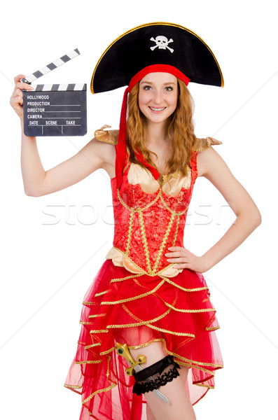 Woman pirate with movie board Stock photo © Elnur