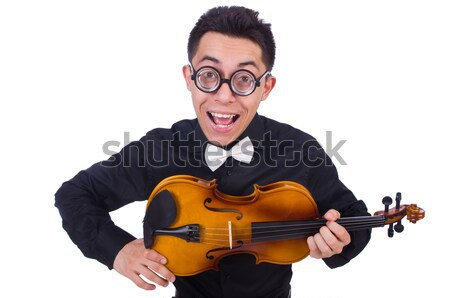 Funny woman playing violin isolated on the white Stock photo © Elnur