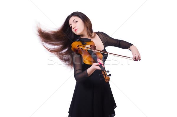Nő játszik hegedű izolált fehér koncert Stock fotó © Elnur