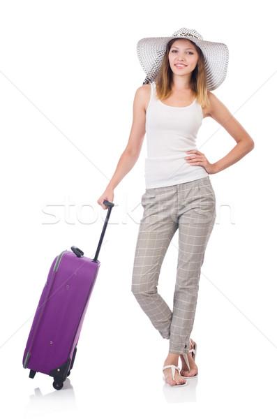 女性 旅人 スーツケース 孤立した 白 少女 ストックフォト © Elnur