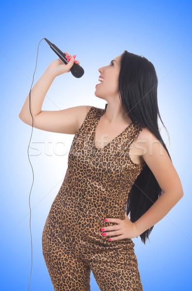 Vrouw zanger microfoon witte meisje partij Stockfoto © Elnur