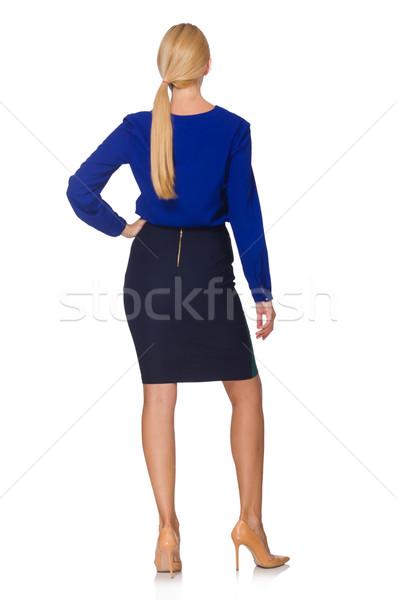 Fiatal nő divat modell kék hát fehér Stock fotó © Elnur