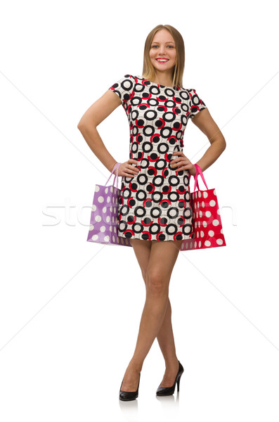 Young woman after shopping isolated on the white Stock photo © Elnur