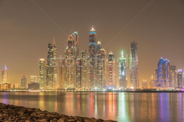 Dubaï marina gratte-ciel nuit bureau bâtiment Photo stock © Elnur