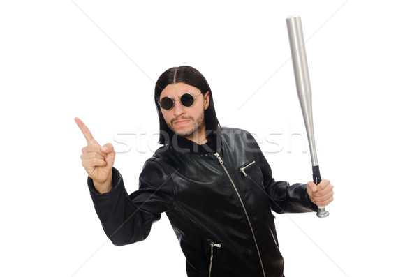 Agresivo hombre bate de béisbol blanco cara fondo Foto stock © Elnur