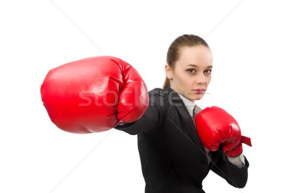 Zakenvrouw bokshandschoenen geïsoleerd witte business kantoor Stockfoto © Elnur