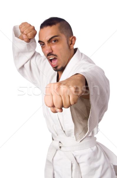 Karate combattente isolato bianco sport ragazzo Foto d'archivio © Elnur