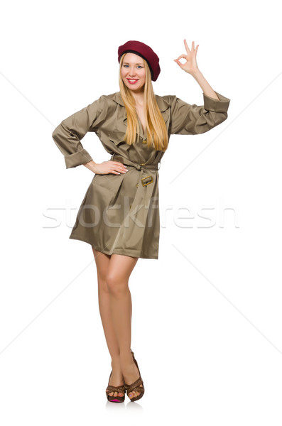 Woman in military clothing isolated on white Stock photo © Elnur