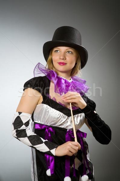 Vrouw goochelaar hand glimlach pak portret Stockfoto © Elnur