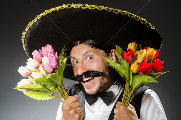 Mexican man wears sombrero isolated on white Stock photo © Elnur