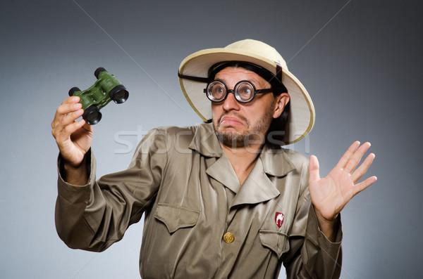 Vicces szafari vadász fegyver szerszám személy Stock fotó © Elnur
