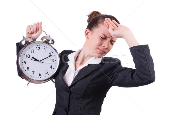 Businesswoman with clock missing her deadlines Stock photo © Elnur