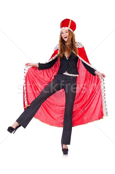 Foto stock: Mujer · negocios · posando · reina · aislado · blanco
