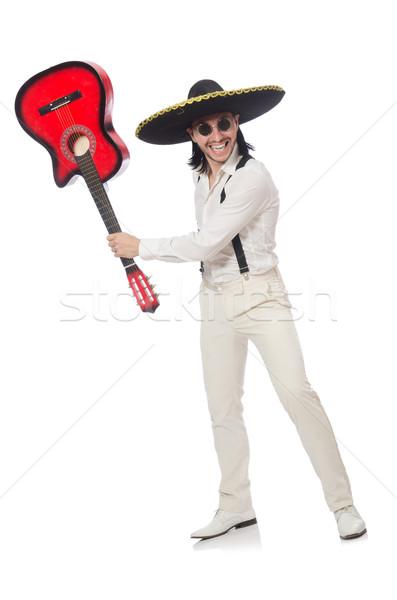Mexikói gitáros izolált fehér buli háttér Stock fotó © Elnur