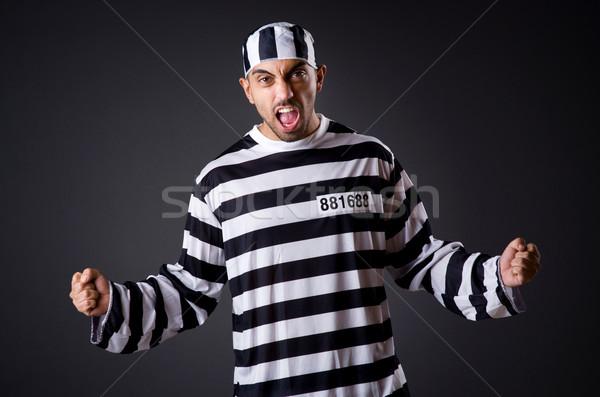 Mérges börtön bennlakó sötét szoba férfi Stock fotó © Elnur