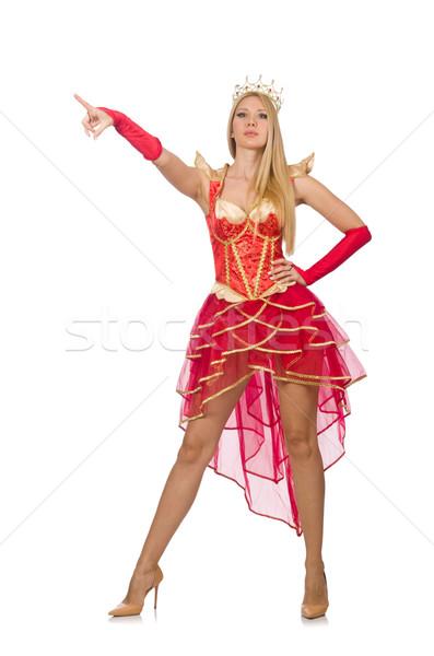 Rainha vestido vermelho isolado branco mulher terno Foto stock © Elnur
