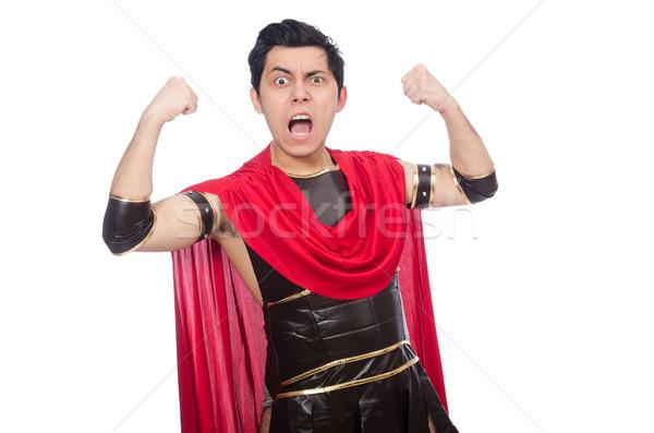 Gladiator geïsoleerd witte Rood grappig jonge Stockfoto © Elnur