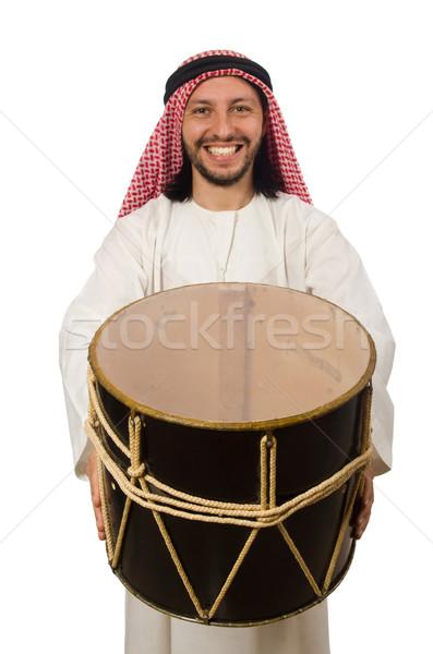 Arab férfi játszik dob izolált fehér Stock fotó © Elnur