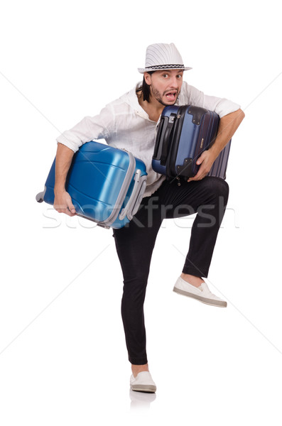 Tourist with suitcases isolated on white Stock photo © Elnur