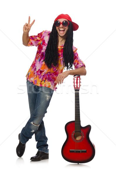 Maschio musicista chitarra isolato bianco uomo Foto d'archivio © Elnur