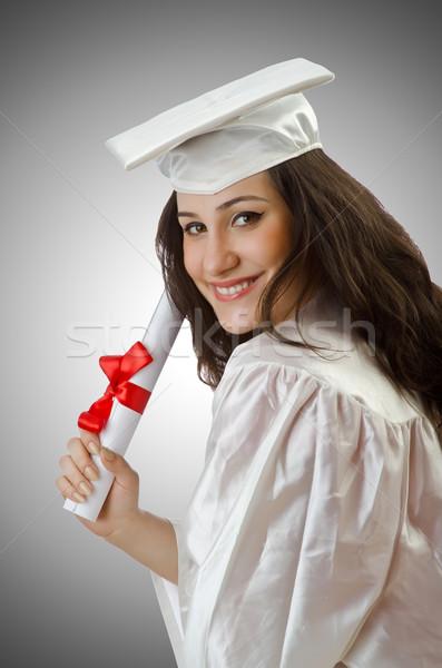 Stock fotó: Boldog · diák · ünnepel · érettségi · fehér · mosoly