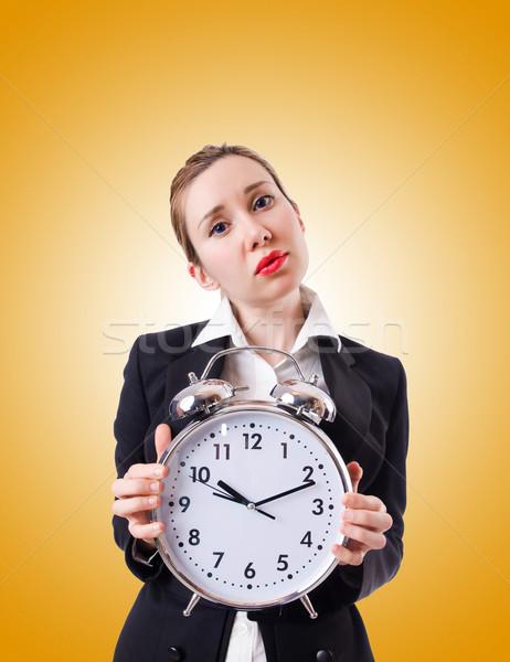 женщину деловая женщина гигант часы служба работу Сток-фото © Elnur
