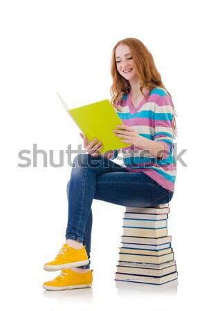 Diák lány könyvek fehér iskola háttér Stock fotó © Elnur