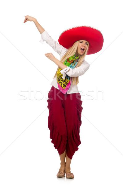 Mexikói lány szombréró tánc fehér nő Stock fotó © Elnur