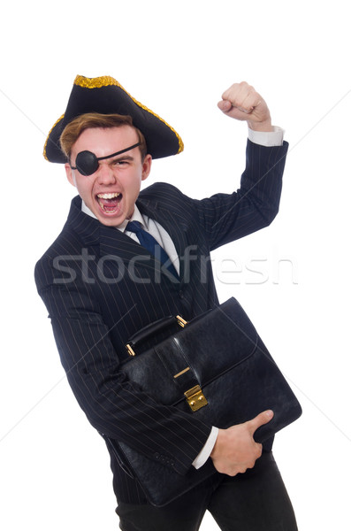 Stock photo: Young man in costume with pirate hat isolated on white