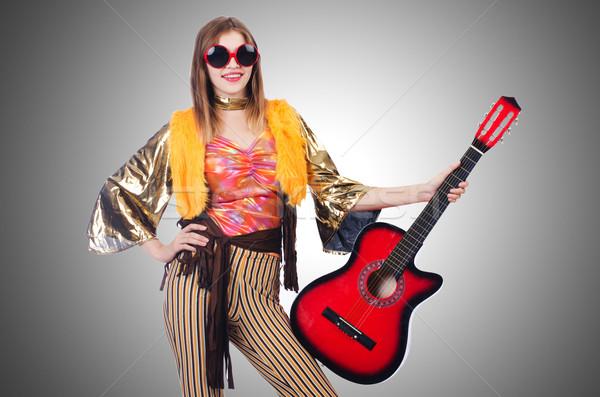 Alto chitarrista isolato bianco donna party Foto d'archivio © Elnur