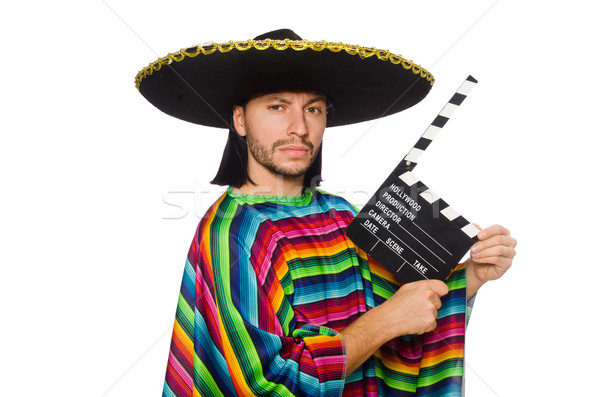 Handsome man in vivid poncho holding clapperboard isolated on white Stock photo © Elnur
