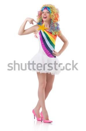 Femme coloré perruque isolé blanche cheveux Photo stock © Elnur