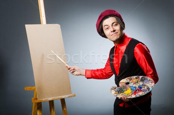 Grappig kunstenaar donkere studio werk student Stockfoto © Elnur
