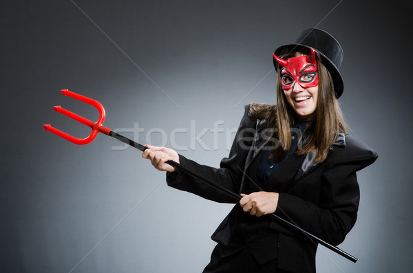 Stock fotó: Vicces · ördög · halloween · piros · villa · halott