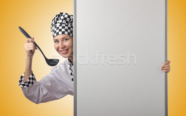 Szakács merőkanál tábla nő boldog otthon Stock fotó © Elnur