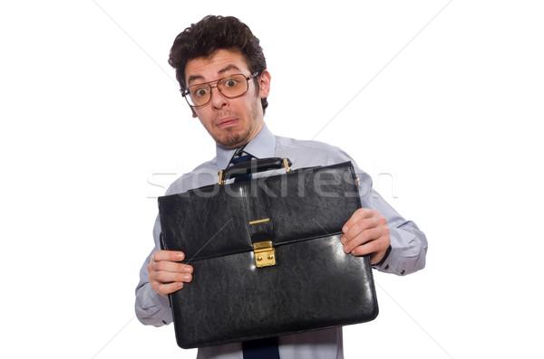 Jonge werknemer aktetas geïsoleerd witte business Stockfoto © Elnur