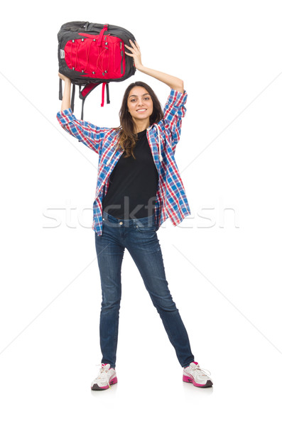 Foto stock: Estudiante · nina · mochila · aislado · blanco · mujer