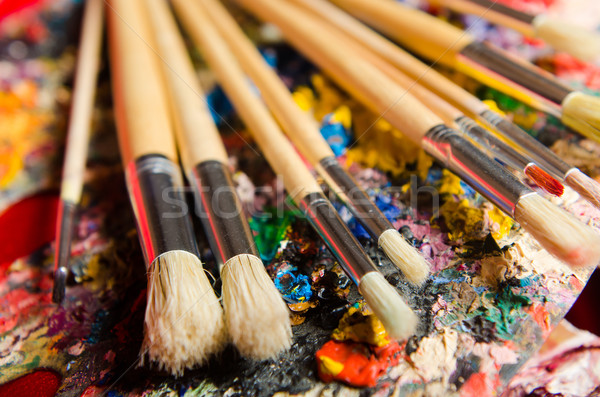 Sztuki palety szkoły farby tle edukacji Zdjęcia stock © Elnur